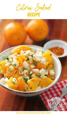 "Xec Jicama and Citrus Salad, It is a healthy, quick, and easy to prepare the dish. ""Xec"" or ""Xe'ec"", comes from the Mayan word for ""Ensalada"" Healthy Mexican Recipes, Vegan Recipes, Some Recipe, What To Cook, Kitchen Recipes, Great Recipes, Food To Make, Breakfast Recipes, Side Dishes"