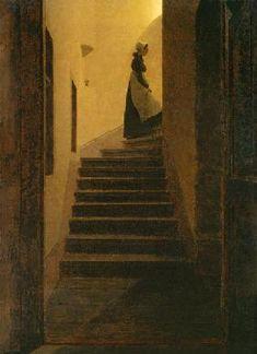 Caspar David Friedrich - Caroline auf der Treppe
