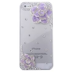 3D Handmade Bling Crystal Purple Flower Design Case Cover for iPhone 5,Purple - iPhone 5 Cases & Covers - iPhone 5 Accessories - iPhone Accessories