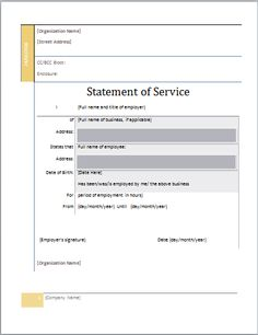 statement of service template at word-documents.com