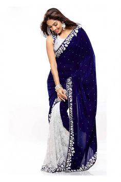 Designer White & Blue Rasal Net & Velvet Party Wear #Saree