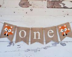 Decoración de cumpleaños de arbolado, arbolado 1 ª fiesta de cumpleaños, arbolado 1er cumpleaños decoración, Woodland Banner, Banner de trona de Fox, B291