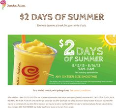 Pinned August 13th: 16oz smoothie just $2 bucks 9-11am at Jamba #Juice #coupon via The Coupons App