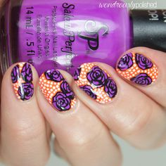 neon pop rose nail art