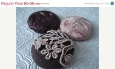 CIJ 25 OFF  Brown and peach  3 fabric covered ♡ by EmbellishedLife2
