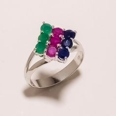 925 SOLID STERLING SILVER EMERALD SAPPHRIE RUBY  LIGHT WEIGHT RING SZ 11 #925silverrocks