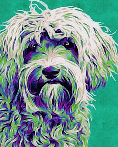 Art painting acrylic labradoodle pop art ink by AnimalArtIncognito