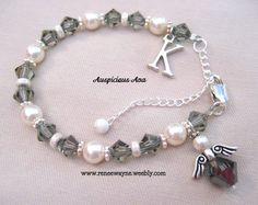 Swarovski crystal and pearl communion bracelet