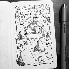Dave Garbot — The Houseboat #illustration #drawing #penandink...