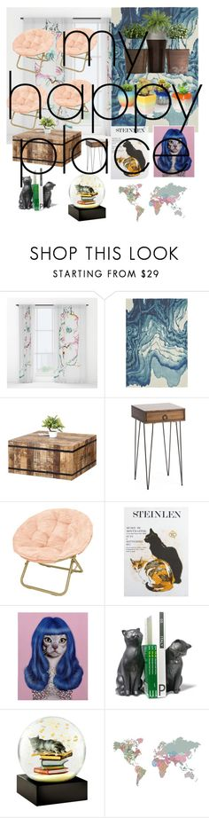 """""""MY HAPPY PLACE"""" by mtorres-i ❤ liked on Polyvore featuring interior, interiors, interior design, home, home decor, interior decorating, Blue Area, Empire Art Direct, Danya B and Cool Snow Globes"""