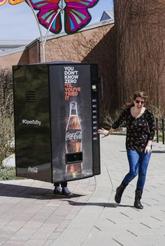 Throughout Indianapolis, people dressed as Coke Zero vending machines rewarded passersby with free Coke Zero.  Photo: Courtesy of The Coca-Cola Company