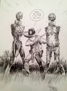 The walking dead: Carl and zombies Comic Art