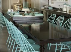 Robin's Egg blue Windsor chairs!!!  What a wonderful way to pop a room with color!