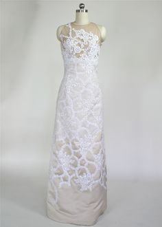 Cafe colored satin with white lace overlay and illusion bodice