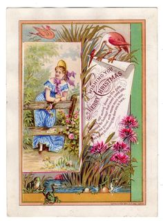 1880's ANTIQUE CHRISTMAS CARD*BUFFORD LITHOGRAPH*FROGS*BIRDS*PRETTY GIRL
