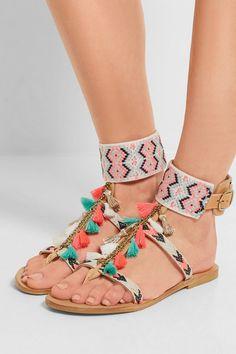 2016 Zapatos de Moda de Verano de Estilo Bohemio Coloful Borlas Planas Sandalias Flip Flop Zapatos De Mujer Superior colgando Cadenas de Metal Borlas en   de   en AliExpress.com   Alibaba Group