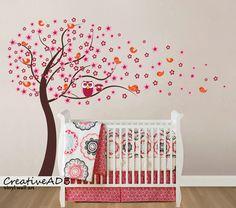 BIG SIZE Blüten Baum mit Vögeln und Eulen Familie von Wall decor shop by creativeADB auf DaWanda.com
