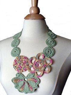 Necklace Crochet Bib Statement Necklace Irish Crochet Lace Flower ...