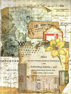 Add drawings directly on top papers.Ancestry page This lady is my GGA. She married twice, the family photo is of her second husband the children she had with him. Kohlenberg immigrated to the US from Germany when he was a small boy about 6 years old. Paper Collage Art, Collage Book, Collage Art Mixed Media, Paper Art, Journal Paper, Scrapbook Journal, Art Journal Pages, Junk Journal, Art Journals