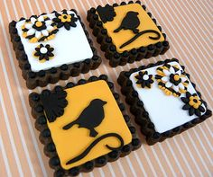 silhouette bird cookies - Alfred would be so proud