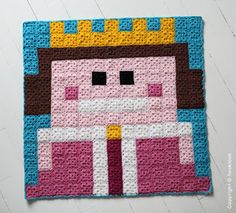 Queen crochet pixel plaid by HOOKLOOK