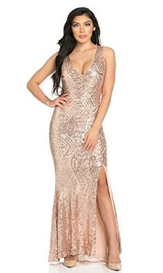 9a926fa74aeb4 Geo Pattern Sequin Design Open Back Side Slit Mermaid Tail Maxi Dress in  Rose Gold Patterned.