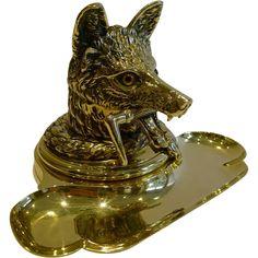 Antique English Cast Brass Figural Inkwell / Inkstand - Fox c.1880