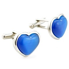 Valentine's Day Silver and Blue Opal Heart Cufflinks