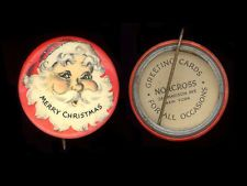 1940s Santa Claus Merry Christmas red background #1 celluloid pinback