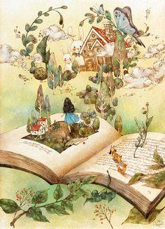 한 장 두 장 책장을 넘기고 그 안에 빠져들면, 책 속의 또 다른 세상이 나를 안내해요. Page by page, you'll fall into the book's story. And a new world inside the book will welcome you.