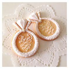Cookie Icing, Royal Icing Cookies, Cupcake Cookies, Wedding Shower Cookies, Wedding Cake Cookies, Engagement Cookies, Paint Cookies, Wedding Sweets, Cookie Designs