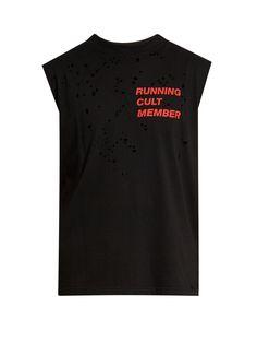 Slogan-print distressed-jersey T-shirt | Satisfy | MATCHESFASHION.COM US