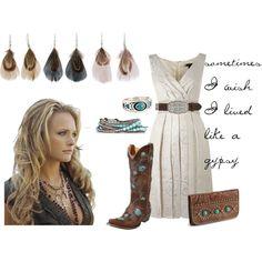 Cowboy boots & white dress? A little redundant. But I love the Miranda Lambert edge! :)