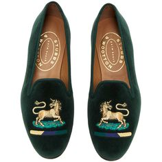 Stubbs & Wootton     Unicorn Hunter Green Slipper ($450) ❤ liked on Polyvore featuring shoes, slippers and green