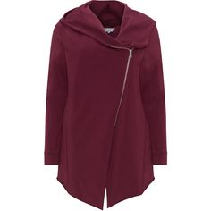 Yoona Bordeaux-Red Plus Size Hooded sweatjacket ($125) ❤ liked on Polyvore featuring tops, plus size, asymmetrical hem top, womens plus tops, plus size tops, plus size asymmetrical tops and red plus size tops
