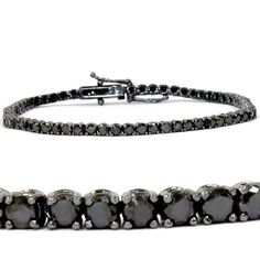 This classic style tennis bracelet features round brilliant genuine black diamonds. All diamonds are prong set in 14k white gold with black finish. The bracelet is secured by a double locking clasp. 3
