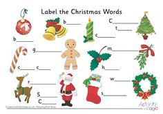 Label the Christmas Words