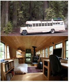 Reconstituted school bus to RV Cabin complete with iron cast wood buring stove...