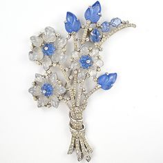 Trifari 'Alfred Philippe' Blue and White Moonstone Fruit Salads Giant Floral Spray Pin Clip ca 1941