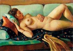 Nude on Green Sofa (1938) - Mahmoud Said
