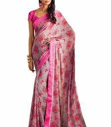 Buy Pink printed georgette saree with blouse banarasi-silk-saree online