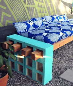 Design Simple Wonderful Easy Diy Furniture Decoration With Upcycled Cinder Blocks And Bricks Block Timber Outdoor Bench Made From Painting Carcassing And Be Equipped Blue Motif Cushion Wood Seat Blue Brick Color Wonderful Awesome Outdoor Seating, Outdoor Spaces, Outdoor Decor, Backyard Seating, Outdoor Couch, Backyard Landscaping, Outdoor Furniture, Garden Seating, Garden Sofa