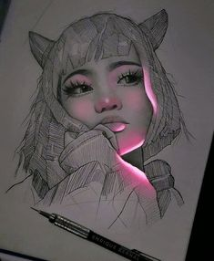 Mexican artist Enrique Bernal creates beautiful pencil drawings that look like they've been illuminated with bright fluorescent lights. Girl Drawing Sketches, Art Drawings Sketches Simple, Pencil Art Drawings, Realistic Drawings, Cool Drawings, Drawing Ideas, Panda Drawing, Disney Drawings, Pencil Drawing Inspiration