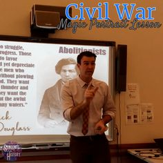 """This AWESOME lesson on the important people of the American Civil War includes moving """"magic portraits"""" that will engage kids in your classroom and ensure its a memorable lesson! Includes PowerPoint, guided notes, videos, and more! Civil War Activities, History Activities, Teaching History, Apps For Teaching, Teaching Activities, Teaching Science, American Civil War, American History, Middle School History"""