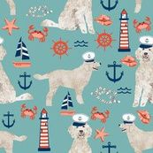 Colorful fabrics digitally printed by Spoonflower - Golden Doodle nautical dog fabric pattern light blue Beach Fabric, Goldendoodle, Fleece Fabric, Fabric Patterns, Custom Fabric, Spoonflower, Nautical, Light Blue, Doodles