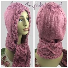 #bmecountdown Pink Hooded Scarf Irish Celtic Cables Rose Caron Simply Soft yarn