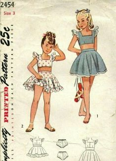 cc3c8d4f8812c Vintage Simplicity Cute Child's Play Suit & Panties Sewing Pattern! # 2454  sz. 3 #Simplicity