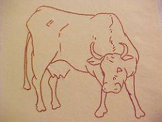 COW block for Ruby McKim Farm Quilt (lasassone) Tags: embroidery bull redwork rubymckim farmquilt