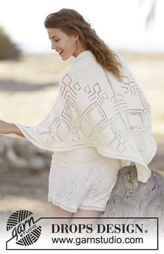 """Summer Diamond Shawl - Knitted DROPS shawl with lace pattern in """"Cotton Merino"""". - Free pattern by DROPS Design"""