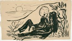"Edvard Munch: «Le Mort joyeux» (1896).  Unpublished illustration to Charles Baudelaire's ""Les Fleurs du mal"""